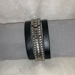 Jewelry - Black Leather and Silvertone Bracelet, GUC
